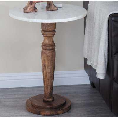 Buckner Wood/Marble End Table - Wayfair