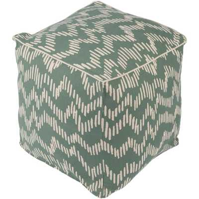 Mirembe Dark Green Accent Pouf - Home Depot