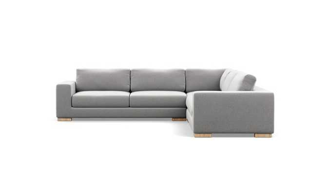 Henry Corner Sectional with Ash Fabric and Natural Oak legs - Interior Define