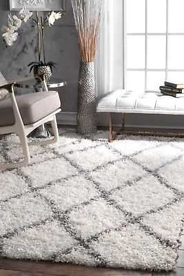 "nuLOOM Contemporary Modern Geometric Plush Shag Area Rug in White and Grey: 6' 7"" x 9' - eBay"