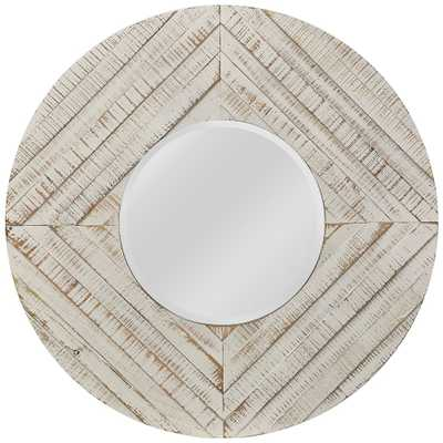 """Whitewash Natural Wood 36"""" Round Wall Mirror - Style # 61F20 - Lamps Plus"""