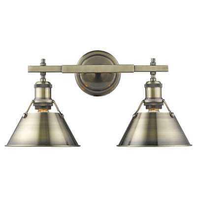 "Golden Lighting 3306-BA2 AB-AB Orwell 2-Light 18-1/4"" Wide Bathroom Vanity Light - eBay"