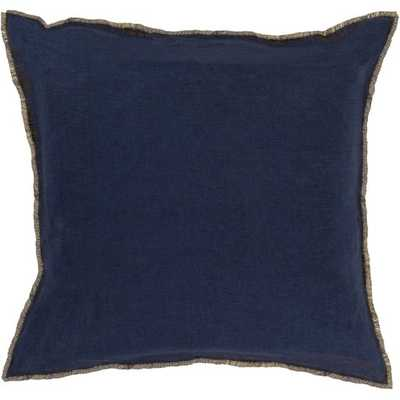 """Clearance Eyelash EYL-008 Throw Pillow-  Navy, Bright Yellow- Pillow Shell with Down Insert- 18"""" x 18"""" - Neva Home"""