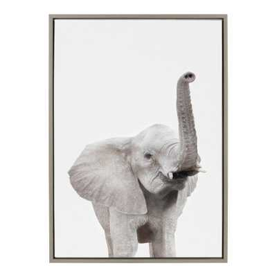 """Kate and Laurel Sylvie """"Animal Studio Elephant"""" by Amy Peterson Framed Canvas Wall Art, Gray - Home Depot"""