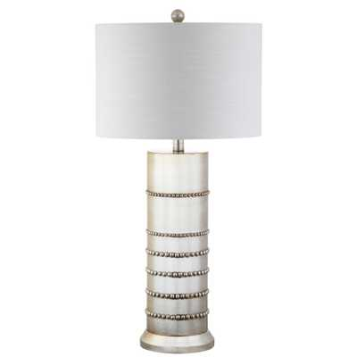 JONATHAN Y Evelyn 31 in. Silver Resin Table Lamp - Home Depot