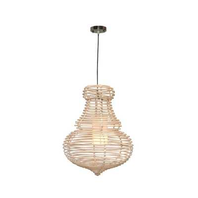 Jeffan Sienna 1-Light Modern Chic Hanging Pendant In Antique White Wash Rattan Rattan - Home Depot