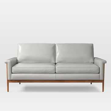 Leon 2.5 Seater Sofa, Parc Leather, Cement - West Elm