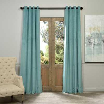 Exclusive Fabrics & Furnishings Blackout Signature Aqua Mist Blue Grommet Blackout Velvet Curtain - 50 in. W x 120 in. L (1 Panel) - Home Depot