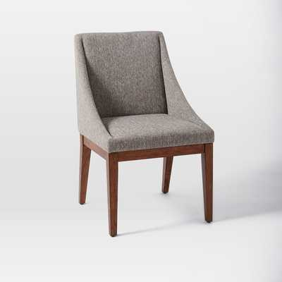 Curved Upholstered Chair - Set of 2 - Gray, Retro Weave - West Elm