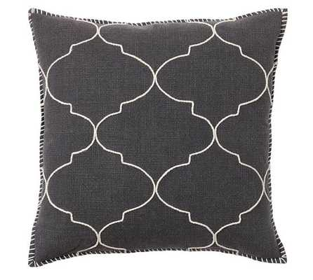 """Tile Embroidered Pillow Cover - 22"""" square - Ebony - Insert sold separately - Pottery Barn"""