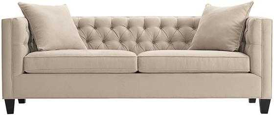 Lakewood Tufted Sofa - Long - Microsuede Light Taupe - Home Depot