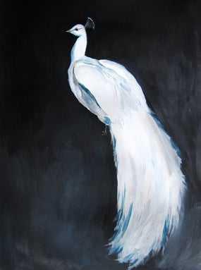 "White Peacock II- 16""x20""-Silver Frame-Mat - Artfully Walls"