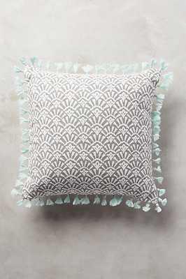 """Folding Fans Pillow - 20"""" x 20"""" - Light Grey - Polyfill - Anthropologie"""