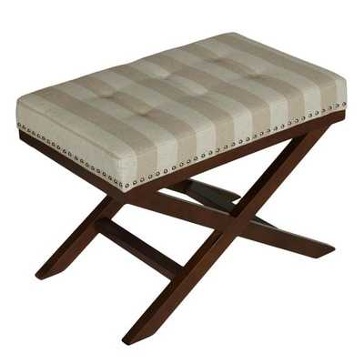 Cortesi Home X-shape Sandy Beach Striped Bench Ottoman - Overstock