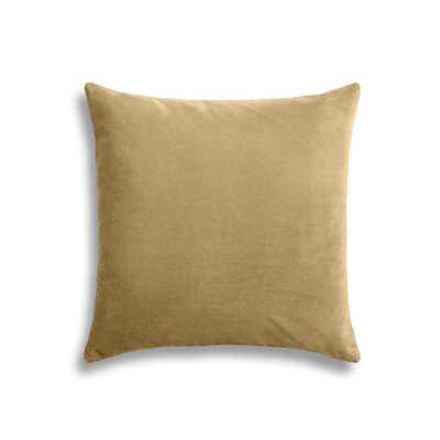 "Warm camel velvet throw pillow - 20"" Sq - With insert - Loom Decor"