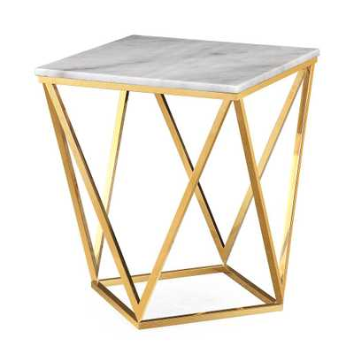 Langston White Marble Side Table - Maren Home