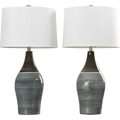 """Carrillo 28"""" H Table Lamp with Drum Shade (Set of 2) - Wayfair"""