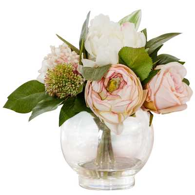 Faux Mixed Rose & Hydrangea in Glass Vase - Wayfair