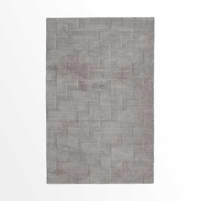 Solid Angled Basketweave Wool Rug -5'x8' - West Elm