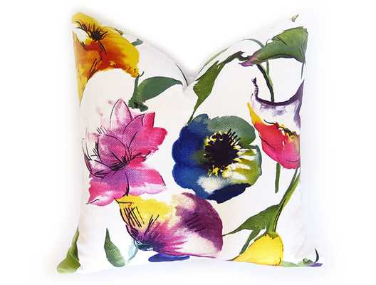 "Watercolor Floral Pillow Cover - 18""x18"" - No Insert - Willa Skye"