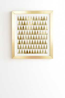 """TRIANGLE PATTERN GOLD Framed Wall Art - 11"""" x 13"""" - Basic Gold Frame - With mat - Wander Print Co."""