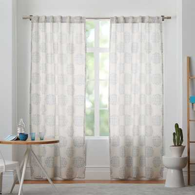 "Cotton Canvas Scroll Medallion Curtain - Smoke Blue - 108"" - West Elm"