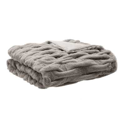Ruched Fur Throw Blanket - Gray - Wayfair