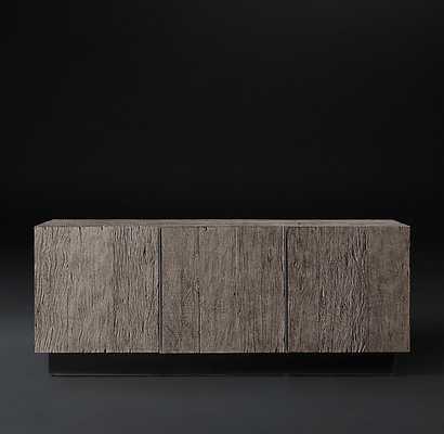 Monterey Panel Triple-Door Media Console -Ash Reclaimed Peroba - RH Modern