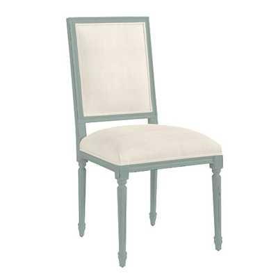 Lacquer Square Louis Side Chair - Microfiber Chamois, Spa Lacquer - Ballard Designs