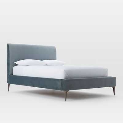 Deco Upholstered Bed - King, Luster Velvet, Steel Blue - West Elm