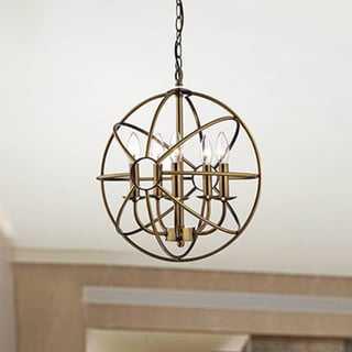 Benita 5-light Polished Brass Metal Strap Globe Chandelier - Overstock