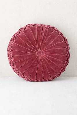 Round Pintuck Pillow - Berry - 16x16 With insert - Urban Outfitters