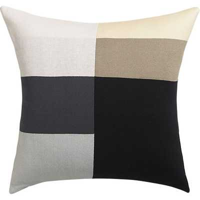 "b/w panels 20"" pillow- white /tonal grey/ beige/black - Down-alternative insert. - CB2"