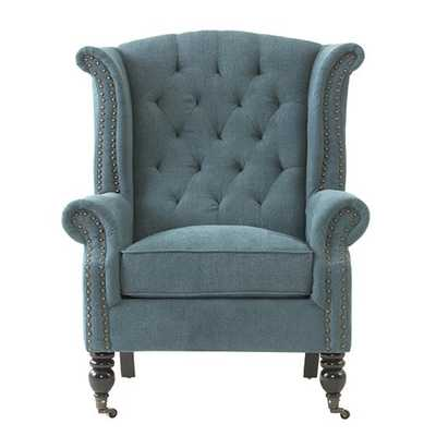 Milo Wing Chair - Chenille Teal - Home Decorators