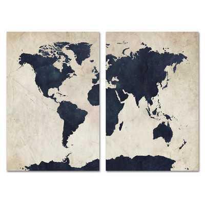 """2 Piece Globetrotter Wall Art Set- 24"""" H x 32"""" W x 2"""" D - Wayfair"""