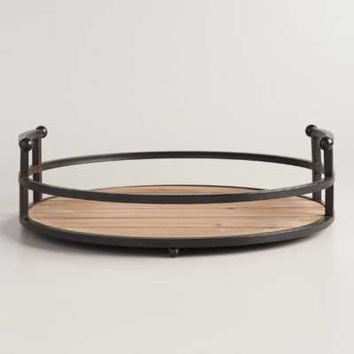 Wood and Antiqued Bronzed Round Serving Tray - World Market/Cost Plus