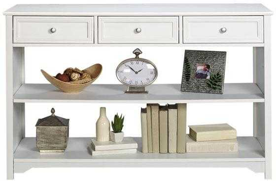 Oxford Three-Drawer Console Table with Open Storage - White - Home Depot
