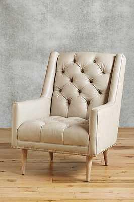 Premium Leather & Belgian Linen Booker Armchair - Ivory - Anthropologie