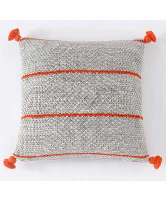 "TABITHA PILLOW, TANGERINE AND GRAY- 22"" x 22""- Polyester Filled - Lulu and Georgia"