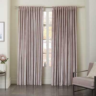 "Cotton Luster Velvet Curtain - Dusty Blush - Blackout Lining - 96"" - West Elm"