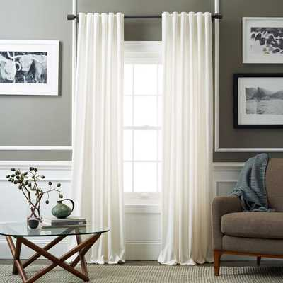 "Velvet Pole Pocket Curtain - Ivory - Blackout Lining - 96""L - West Elm"