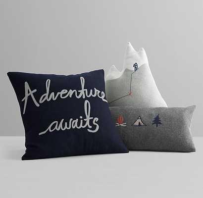 "Adventure awaits Navy PILLOW COVER & INSERT - 19"" Sq - RH Baby & Child"