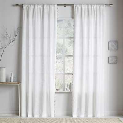"Wood Bead Trim Curtain, Set of 2, White, 48""x84"" - West Elm"
