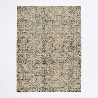 Fans Printed Wool Rug, 8'x10', Frost Gray - West Elm