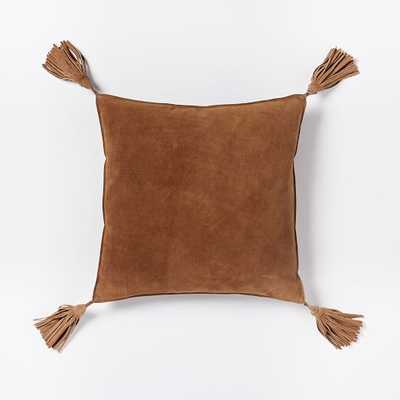 Suede Tassel Pillow Cove, Cinnamon - Insert not included - West Elm