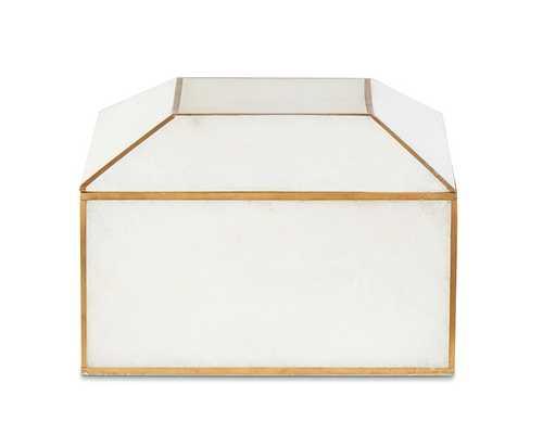 Brass Bordered Stone Box - Small - White - Williams Sonoma Home