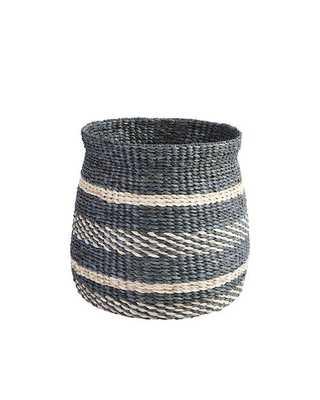 Round Raffia Basket - Stripe - Ballard Designs
