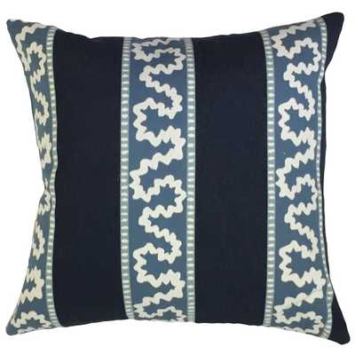 "Magali Ikat Pillow Indigo - 18"" x 18""- with poly insert - Linen & Seam"