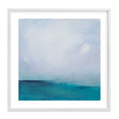"""Distant Island Pier- 30"""" x 30""""- White Wood Frame-with mat - Minted"""