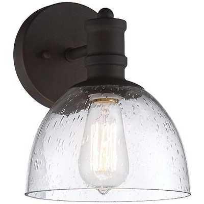 "Bleecker Industrial 9 1/2""H Seedy Glass Bronze Wall Sconce - Lamps Plus"